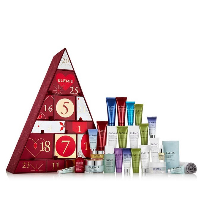 Filled with 25 ELEMIS face and body favourites, this spectacular Advent Calendar will make the countdown to Christmas even more special. Open a door each day to reveal a new skincare suprise. This collection includes: Pro-Collagen Marine Cream 50ml FULL SIZE Pro-Collagen Cleansing Balm 20g and Luxury Cleansing Cloth Pro-Collagen Hydra Gel Eye Masks 1 Sachet Pro-Collagen Rose Facial Oil 5ml Pro-Radiance Cream Cleanser 30ml Cellular Recovery Skin Bliss Capsules 14 Balancing Lavender Toner 50ml Instant Refreshing Gel 20ml Peptide4 Thousand Flower Mask 15m Peptide4 Plumping Pillow Mask 15ml Peptide4 Adaptive Day Cream 15ml Superfood Facial Wash 30ml Superfood Day Cream 20ml Superfood Night Cream 20ml Superfood Vital Veggie Mask 15ml Superfood Berry Boost Mask 15ml Frangipani Monoi Body Oil 35ml Frangipani Monoi Shower Cream 50ml Frangipani Monoi Body Cream 50ml Pro-Radiance Illuminating Flash Balm 15ml Dynamic Resurfacing Facial Wash 50ml Pro-Collagen Eye Renewal 5ml Pro-Collagen Insta-Smooth Primer 5ml Skin Nourishing Body Cream 50ml Gentle Foaming Facial Wash 30ml