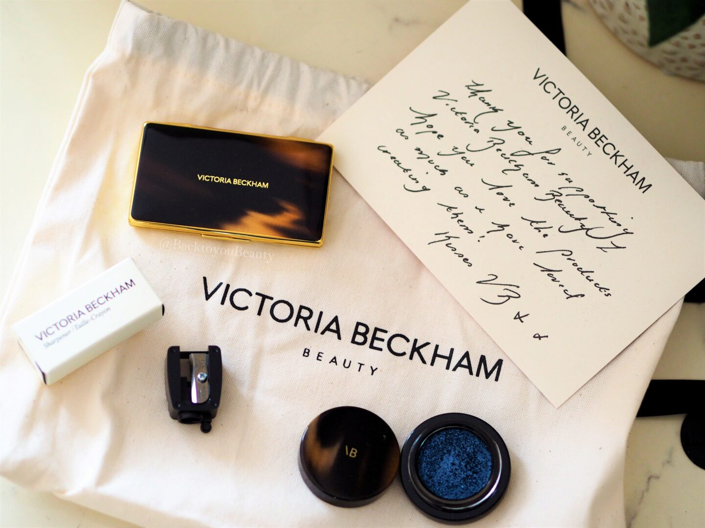 victoria beckham beauty handwritten note