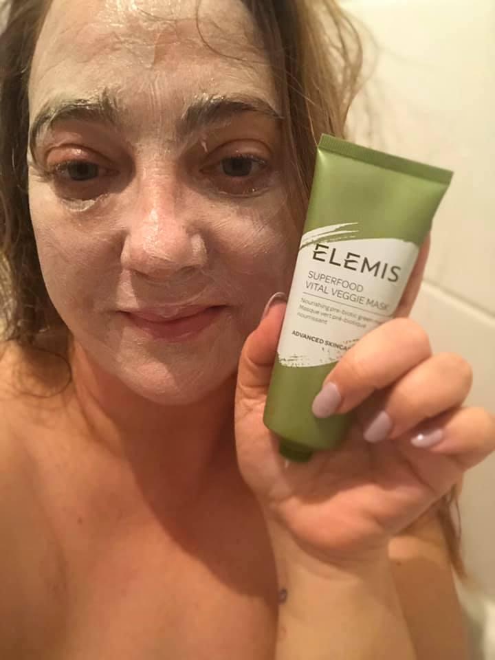 wearing elemis superfood vital veggie face mask