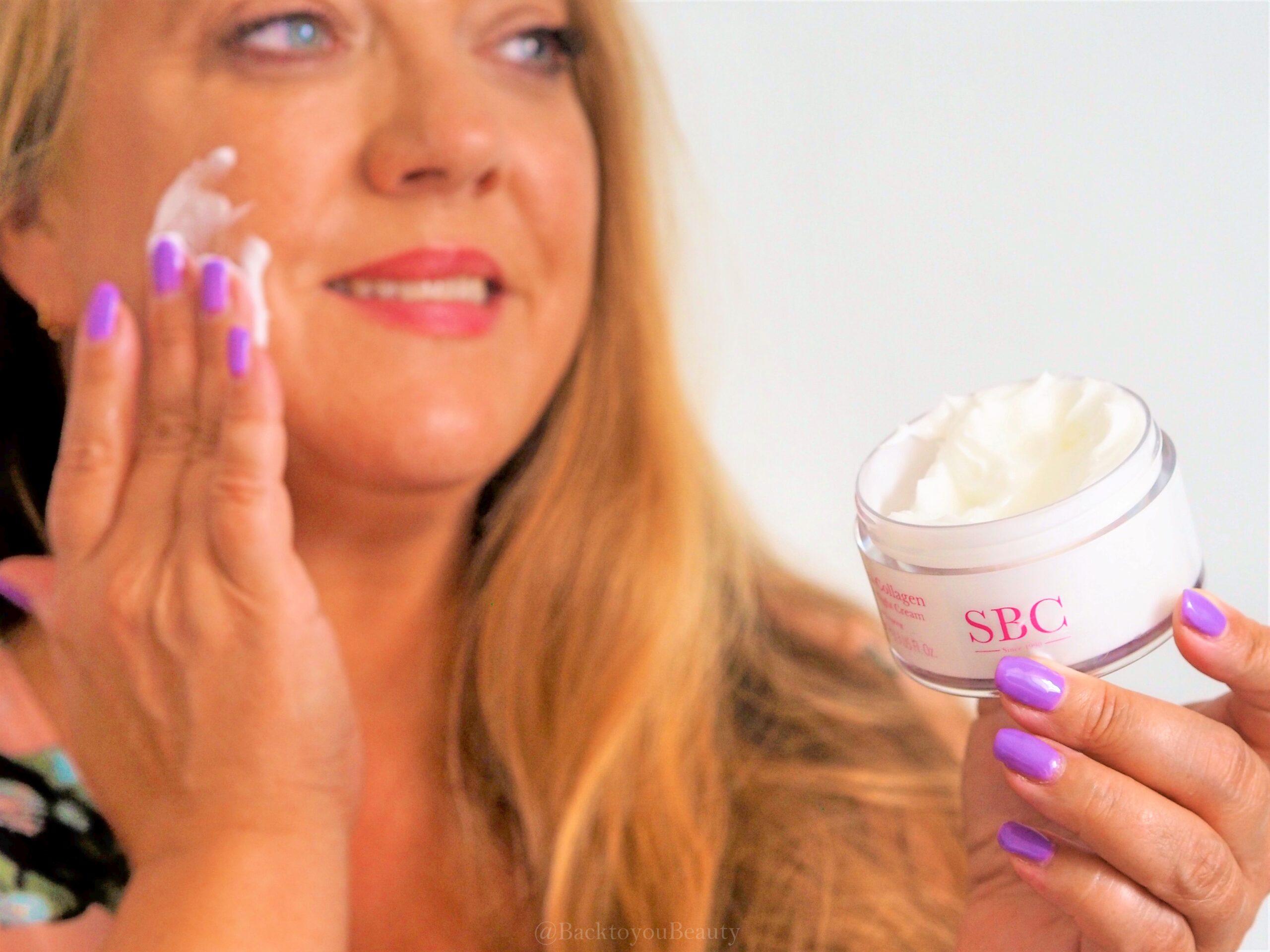 Applying hydra collagen day & night cream